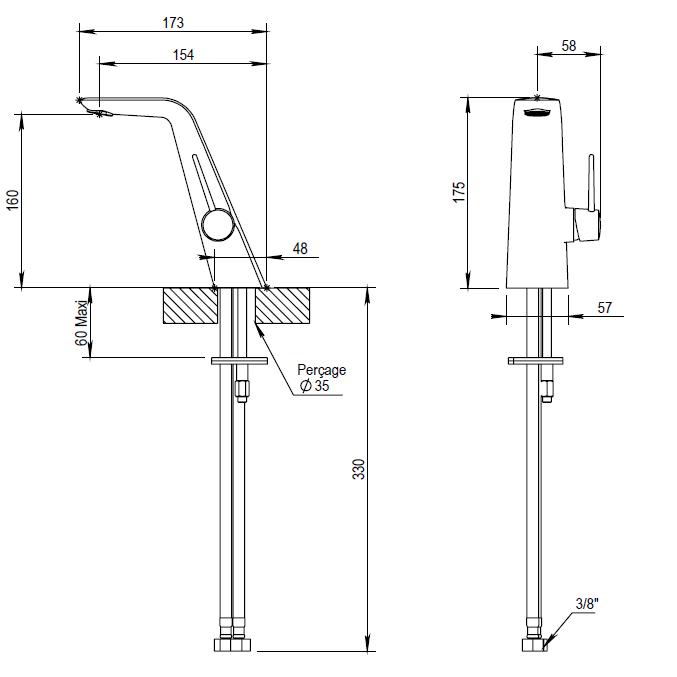 Dessin technique du mitigeur NAJA avec manette fine