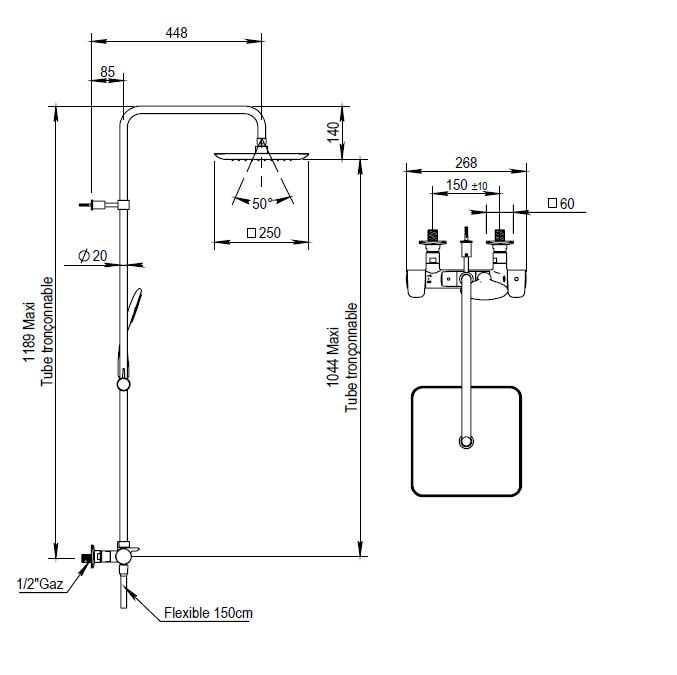 Dessin technique de colonne de douche mitigeur thermostatique NAJA