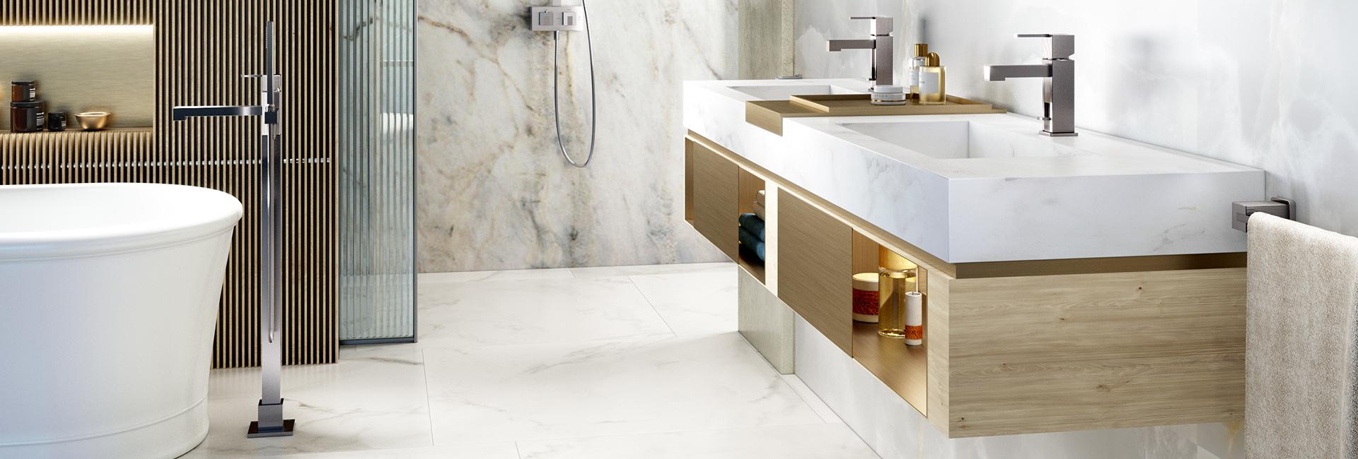 (image) salle de bain équipée de robinetteries Myriad