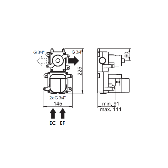 Dessin technique Box mitigeur thermostatique 1 voie Equinox316 maison française de robinetterie Horus