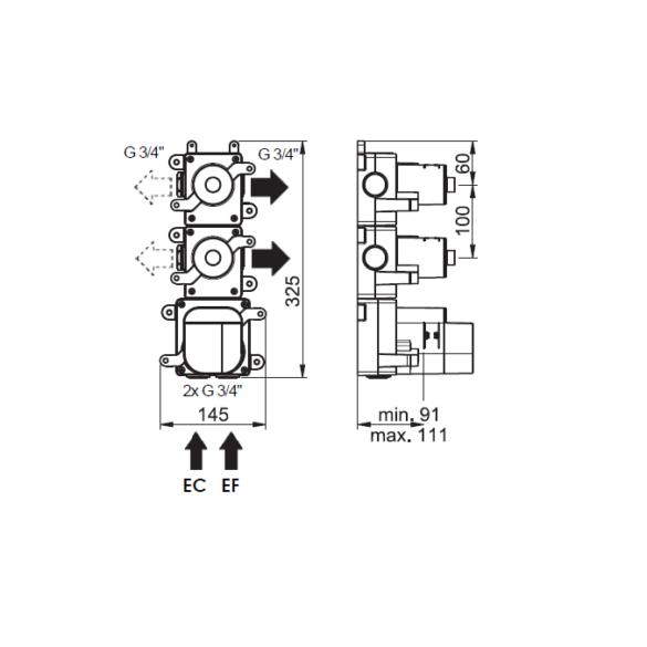 Dessin technique Habillage pour Box mitigeur thermostatique 2 voies Equinox316 maison française de robinetterie Horus