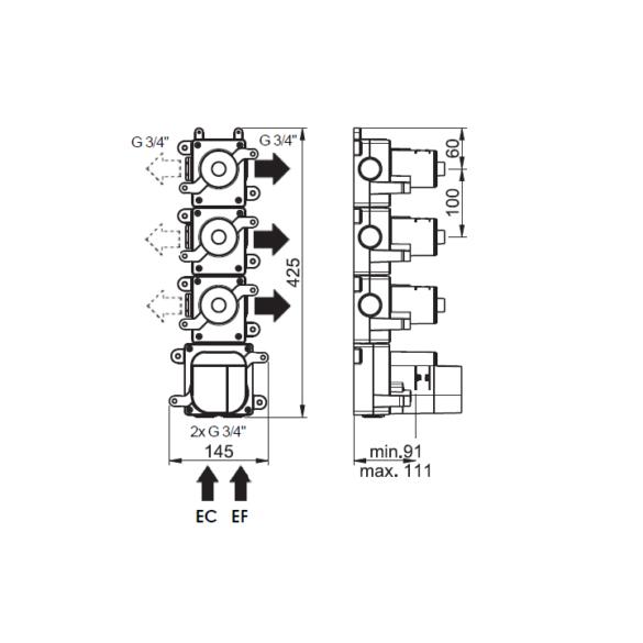 Dessin technique Box mitigeur thermostatique 3 voies Equinox316 maison française de robinetterie Horus
