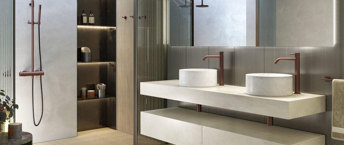 (image) salle de bain équipée de robinetterie Horus de la gamme Equinox316