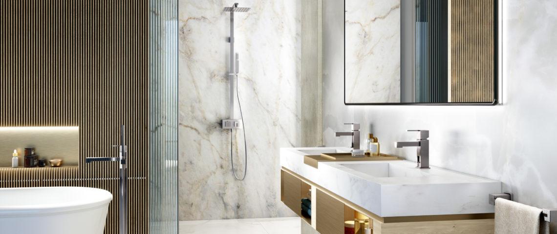 (image) salle de bain équipée de robinetteries Horus douche, bain, lavabo