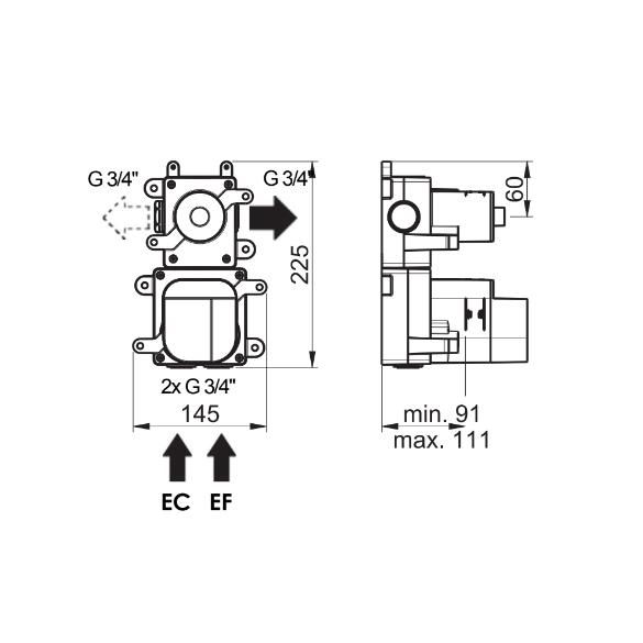 (image) Box mitigeur thermostatique encastré 1 voie