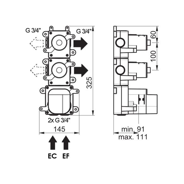 (image) Box mitigeur thermostatique encastré 2 voies 81592