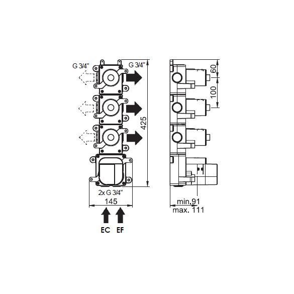 (image) Box mitigeur thermostatique encastré 3 voies 81593