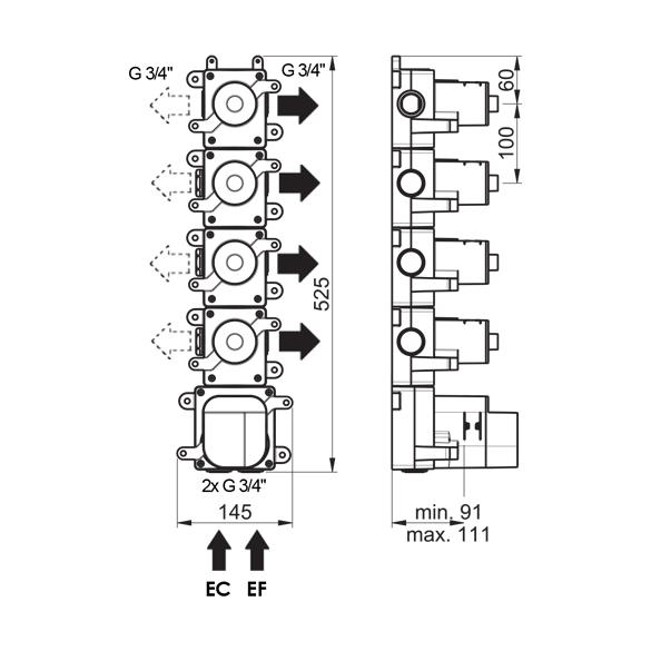 (image) Box mitigeur thermostatique encastré 4 voies 81595