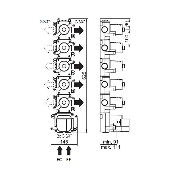 (image) Box mitigeur thermostatique encastré 5 voies 81597