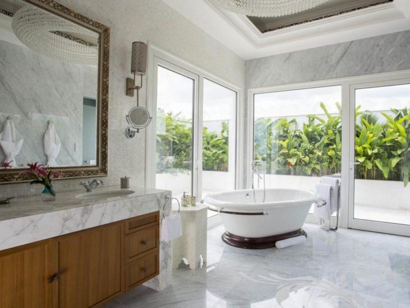 (image) salle de bain du Park Hyatt de Zanzibar équipées en robinetteries Horus