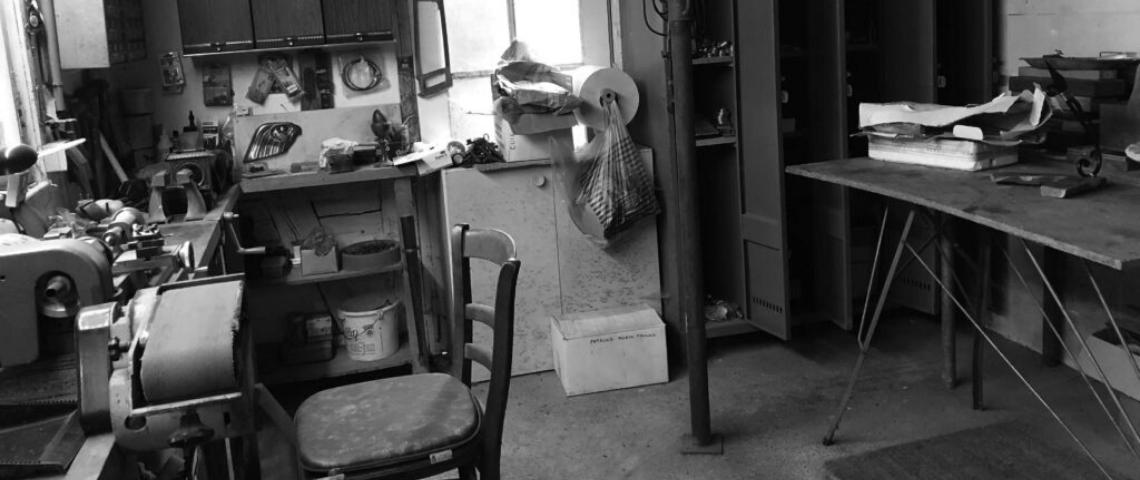 (image) photo en noir et blanc de l'atelier de gilles Nortier