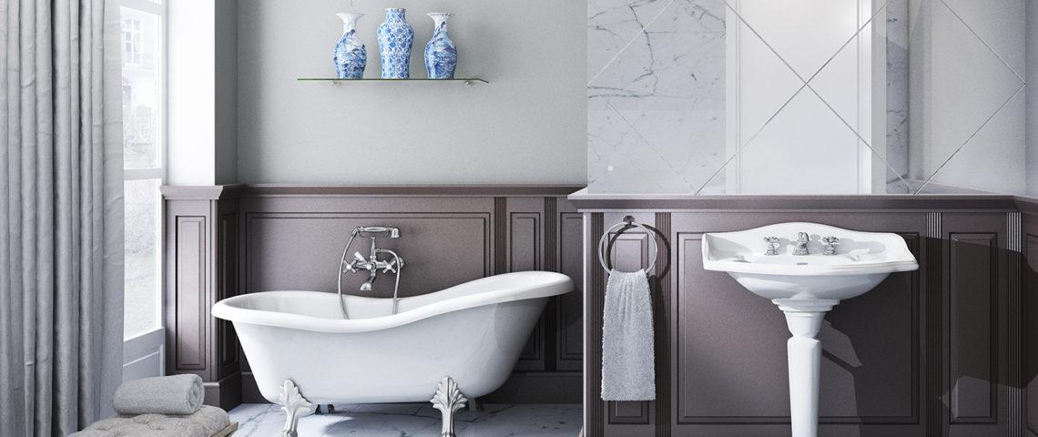(photo) salle de bain romantique équipée de robinetteries Elsa
