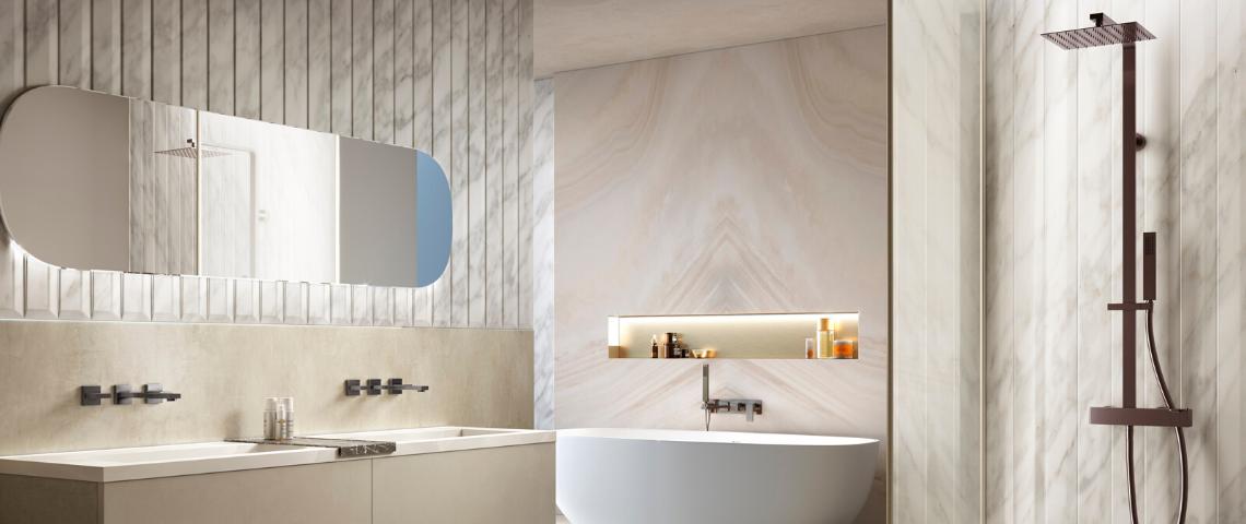 (image) salle de bain luxueuse équipée de robinetterie Philae Horus