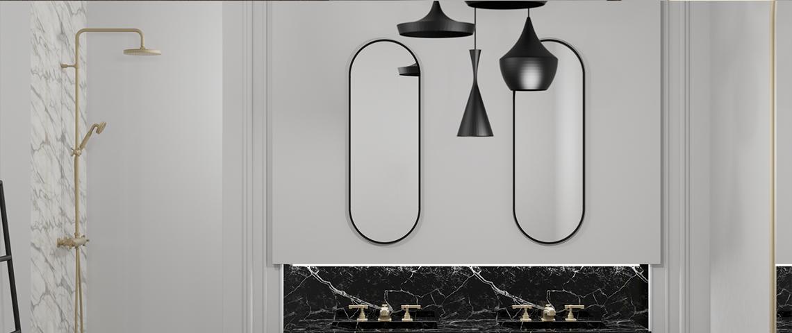 (photo) Une colonne de douche et un mitigeur 3 trous dans une salle de bain haussmannienne