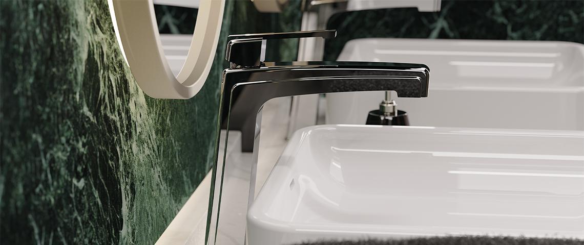 (photo) Mitigeur réhaussé de lavabo, double vasque, finition chromé